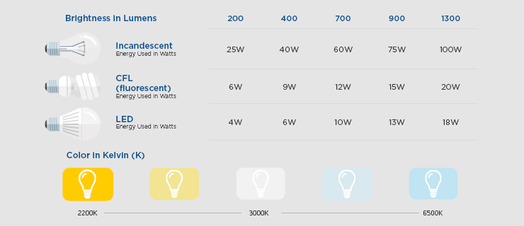 LED light bulb options compared to incandescent